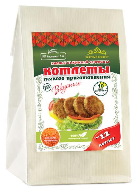 Котлеты из красной чечевицы с чесноком ИП Корниенко/230гр.