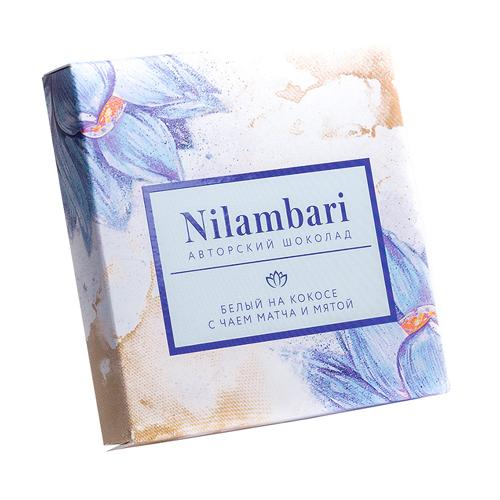 Шоколад Nilambari белый на кешью c чаем матча и мятой