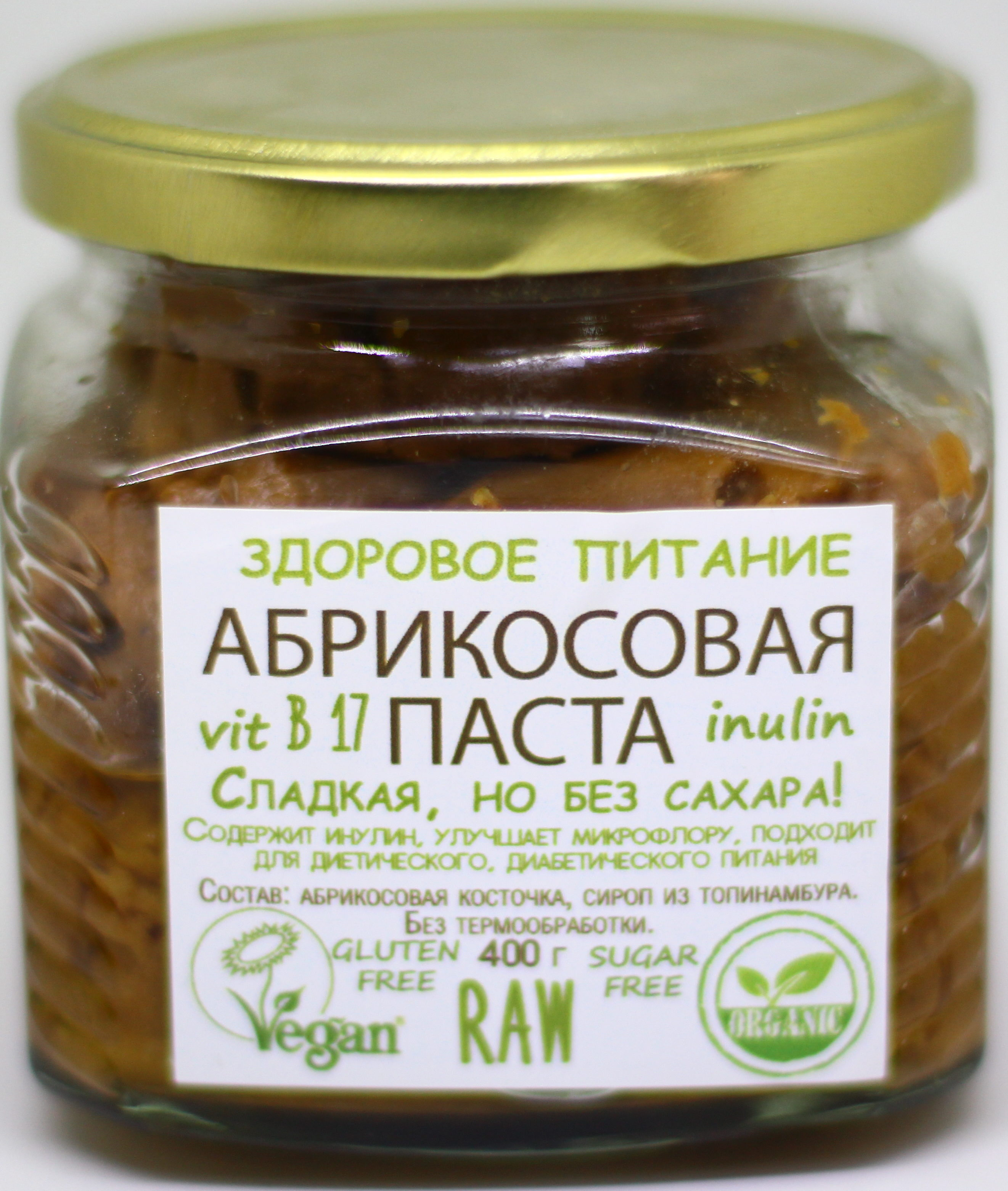 Абрикосовая паста с сиропом топинамбура Вега мирная еда/400гр.