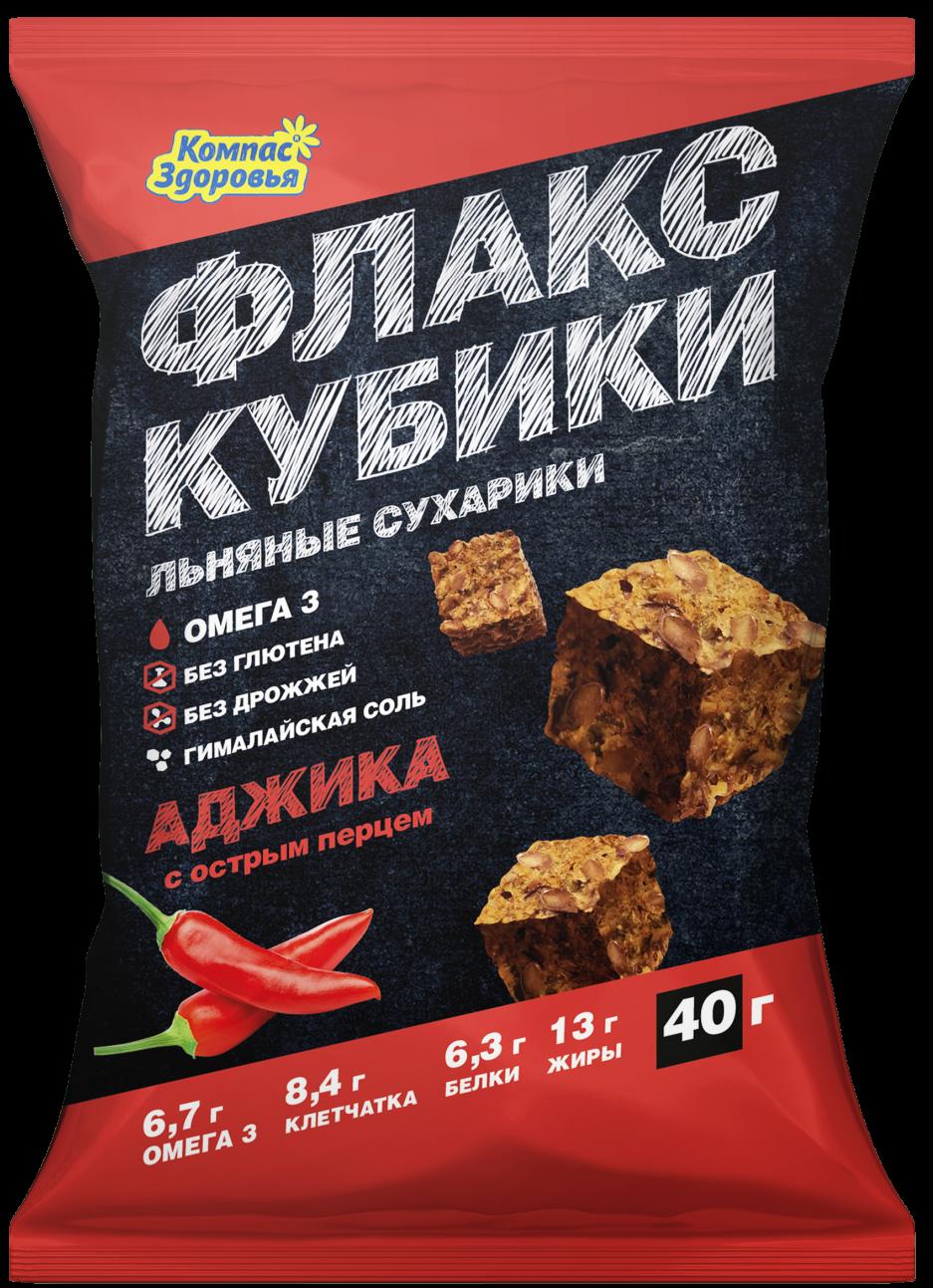 Льняные крекеры с аджикой Компас здоровья/40гр.