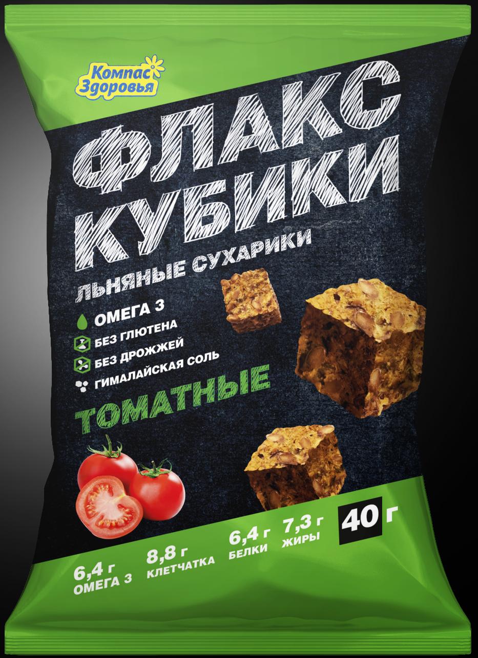 Льняные крекеры с томатом Компас здоровья/40гр.